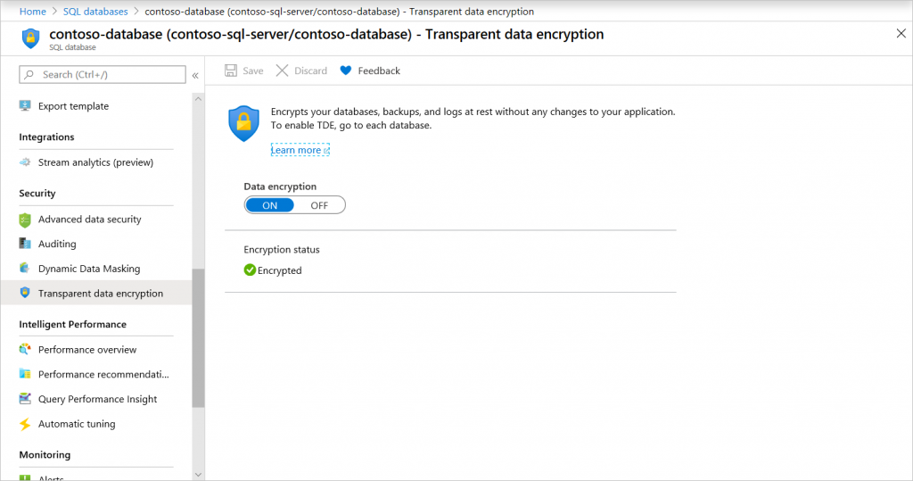 Manage TDE in the Azure portal